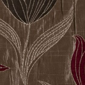 Florentine - Rouge - Luxurious polyester and viscose blend fabric embroidered with flowers and leaves in black, brown-grey and maroon