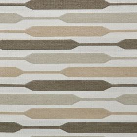 Geo - Natural - Polyester, cotton and viscose fabric in grey and beige shades, with a contemporay design of widening & narrowing stripes