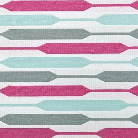 Geo - Sorbet - Icy blue, fucshia, white and grey polyester, cotton and viscose fabric, with a contemporary design of horizontal stripes