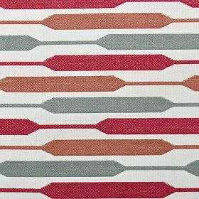 Geo - Spice - Widening and narrowing horizontal stripes in cherry, light red and grey on white polyester, cotton and viscose fabric