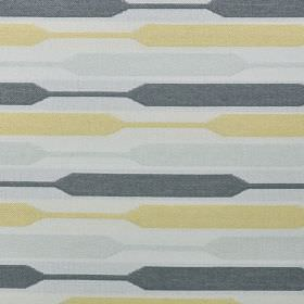 Geo - Yellow - Fabric made with a contemporary horizontal stripe design from polyester, cotton and viscose in light yellow and grey shades