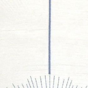 Halo - Harbour Blue - Bright white 100% polyester fabric patterned with viscose embroidery in the form of a thin,cobalt blue vertical strip