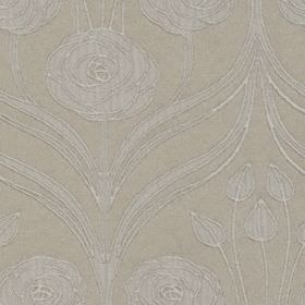Hamilton - Natural - A very subtle design of large patterns, flowers & leaves made in two similar shades of grey on polyester & cotton fabri