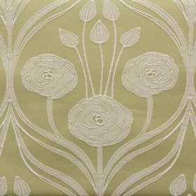 Hamilton - Olive - Creamy beige coloured polyester and cotton blend fabric behind an elegant white pattern of flowers, swirls and leaves