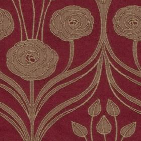Hamilton - Rouge - Flowers, swirls and leaves creating an elegant pattern on polyester and cotton blend fabric made in light brown and cherry