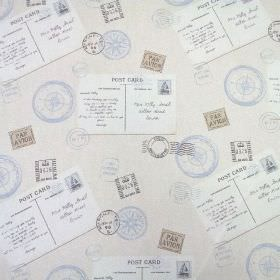 Voyage - Harbour Blue - Postage themed 100% cotton fabric with stamps, compasses and postcards in pale shades of grey, blue and white