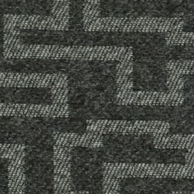 Harris - Charcoal - A maze style, mottled and striped geometric design covering 100% polyester fabric made in graphite grey and white