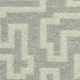 Harris - Dove - Mottled, pale grey geometric shapes creating a maze style design on subtly striped pale blue-grey 100% polyester fabric