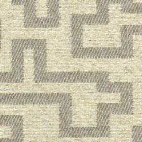 Harris - Natural - 100% polyester fabric patterned with a maze style geometric design in striped grey and mottled cream colours