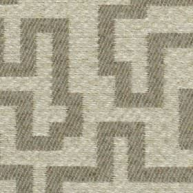 Harris - Stone - Several different shades of grey making up a striped and mottled maze style geometric design on 100% polyester fabric