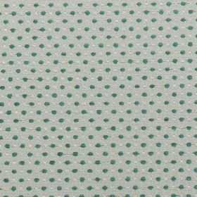 Jakarta - Duckegg - Light grey polyester and acrylic fabric patterned with closely spaced rows of small off-white and turquoise coloured dots