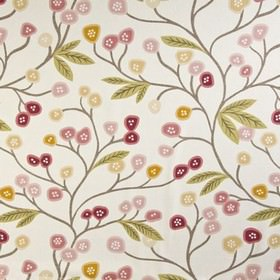 Java - Chintz - Fun, stylised flowers and leaves printed on white 100% cotton fabric in grey, green, orange and pink shades