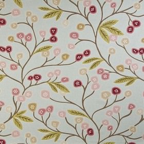 Java - Duckegg - Dark and light shades of pink and beige making up a fun, stylised flower print on pale blue 100% cotton fabric