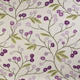 Java - Grape - Shades of purple, light green and grey making up a fun, stylised flower, leaf and branch print on 100% cotton fabric