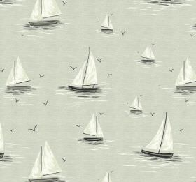 Clipper - Linen - Sailboat patterned 100% cotton fabric in white and several pale shades of grey