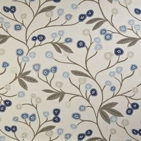 Java - Navy - 100% cotton fabric printed with fun, stylised flowers, leaves and branches in various light shades of grey and blue