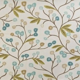 Java - Teal - Fabric made in shades of light brown and dusky blue from 100% cotton, with fun, stylised flowers, leaves and branches
