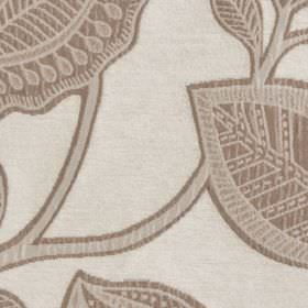 La Scala - Natural - Light grey and beige making up pretty patterned leaves and branches on pale grey-white polyester and viscose fabric