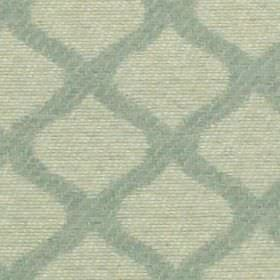 Lewis - Duckegg - 100% polyester fabric patterned with a grid style design made up of wavy lines in very pale blue-white and duck egg blue