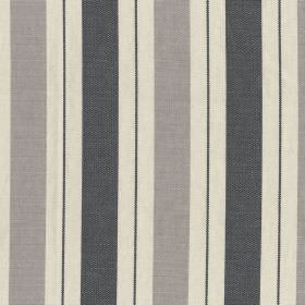 New Haven - Charcoal - 100% cotton fabric striped with charcoal, light grey and oyster colours