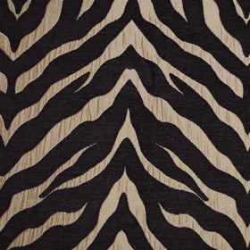 Limpopo - Bronze - A large champagne coloured slash streaking across very dark purple-grey coloured polyester and viscose blend fabric