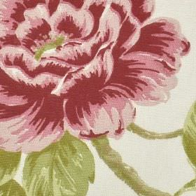 Loire - Chintz - Floral patterned fabric made from white 100% cotton, with a large, elegant designin dark pink and grass green shades