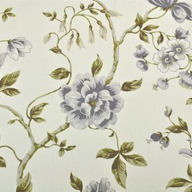 Loire - Mauve - White 100% cotton fabric printed with a large, elegant floral pattern in blue-grey shades, with leaves in olive green