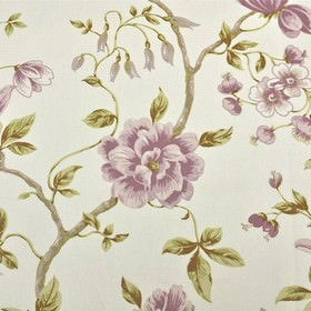 Loire - Rose - Fabric made from 100% cotton in white, olive green and shades of lilac, featuring a large, elegant floral and leaf pattern