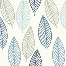 Lola - Blue - Very simple, fun leaf outlines printed in light grey, sky blue, cobalt blue and navy on white 100% cotton fabric