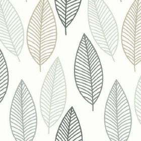 Lola - Harvest - White fabric made from 100% cotton, printed with a fun design of very simple leaf outlines in four shades of blue-grey