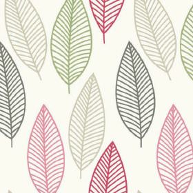 Lola - Spring - Dark grey, light grey, dusky green, candy pink and dark pink leaves creating a fun design on white 100% cotton fabric
