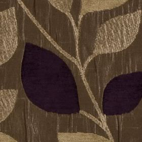 Matisse - Aubergine - Indulgent latte, brown-grey and very dark purple coloured polyester and viscose fabric, featuring simple, elegant leav