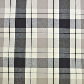 Washington - Charcoal - Checked fabric made from 100% cotton with off-white as well as several different shades of grey