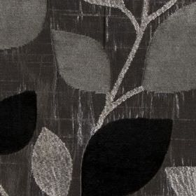 Matisse - Charcoal - Lustrous polyester and viscose blend fabric patterned with simple, elegant leaves inblack, chrome and silver-grey