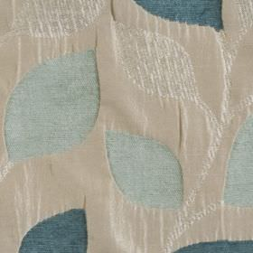 Matisse - Duckegg - Fabric made from polyester and viscose, with ivory, white,powder blue and marine blue in a simple, elegant leaf design