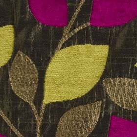 Matisse - Fuchsia - Leaf patterned fabric made from polyester and viscose, with a simple design in citrus, dark brown, charcoal and fucshia
