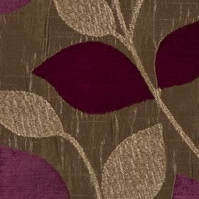 Matisse - Mulberry - Polyester and viscose blend fabric patterned with elegant, simple leaves in indulgent latte andrich purple shades