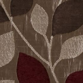 Matisse - Rosso - An elegant design of leaves in indulgent silver, charcoal and maroon, on lustrous chrome grey polyester & viscose fabric