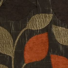 Matisse - Terracotta - Lustrous charcoal coloured polyester and viscose blend fabric, with simple black, brown-grey and rust coloured leaves