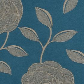 McAllister - Blue - Delicate light grey coloured roses with simple leaves patterning rich marine blue coloured polyester and cotton fabric