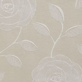 McAllister - Natural - White and two pale shades of grey making up an elegant, delicate rose and leaf pattern on polyester and cotton fabric
