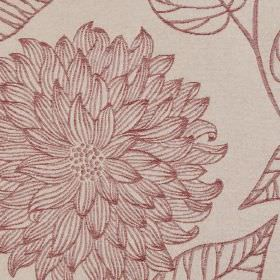 Monet - Cranberry - 100% polyester fabric made in pale grey and light red, with elegant leaves and large flowers with patterned petals