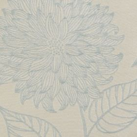 Monet - Duckegg - Very subtle designs of large, intricately patterned flowers and leaves on 100% polyester fabric in pale blue and grey