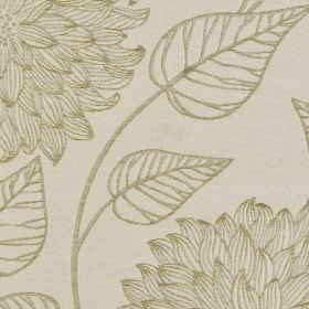 Monet - Olive - Two shades of grey making up an elegant leaf and large, intricately patterned floral design on 100% polyester fabric