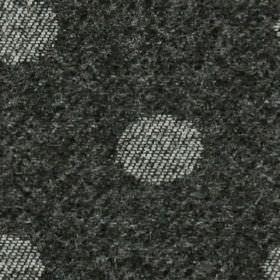 Oban - Charcoal - Light grey coloured polka dots woven into a slightly mottled 100% polyester fabric made in a dark shade of grey