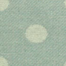 Oban - Duckegg - Off-white and duck egg blue coloured fabric woven with a classic polka dot design from 100% polyester