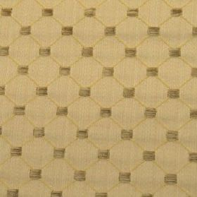 Omega - Antique - A thin honey coloured diagonal grid printed with brown-grey squares on latte coloured polyester, cotton & acrylic fabric