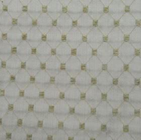 Omega - Beige - Ash grey and pale blue-grey coloured polyester, cotton & acrylic blend fabric, with a thin diagonal grid & small squares