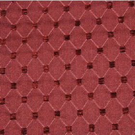 Omega - Berry - Polyester, cotton and acrylic blend fabric in pink-red, with a thin diagonal pale pink grid and small maroon squares