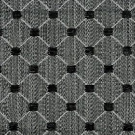 Omega - Black - Small squares and a thin diagonal grid patterning polyester, cotton and acrylic blend fabric in black and grey shades